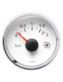 Manomètre pression turbo électrique VDO 0/2 bars fond blanc