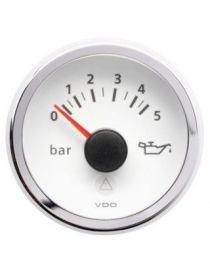 Manomètre pression huile VDO Viewline 0-5 bars fond blanc