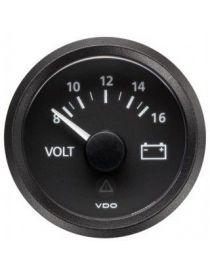 Manomètre Voltmètre VDO Viewline 8-16V Diamètre 52 Fond Noir