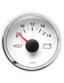 Manomètre Voltmètre VDO Viewline 8-16V Diamètre 52 Fond Blanc