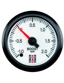 Manomètre STACK Analogique Pro pression turbo -1/+2bars, fond blanc
