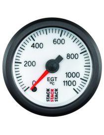 Manomètre STACK Analogique Pro EGT température échappement 0-1100°C, fond blanc