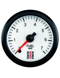 Manomètre STACK Analogique Pro pression essence 0-7bars, fond blanc