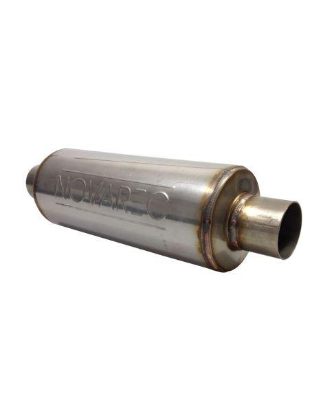 Silencieux universel inox NOVAREC à souder avec tube inox diamètre intérieur 60,3mm, longueur 450mm, corps 127mm extérieur