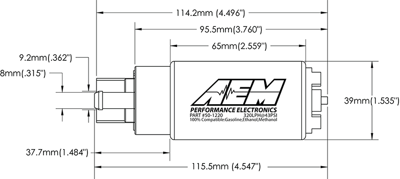 Dessin technique pompe à essence AEM 320L/H