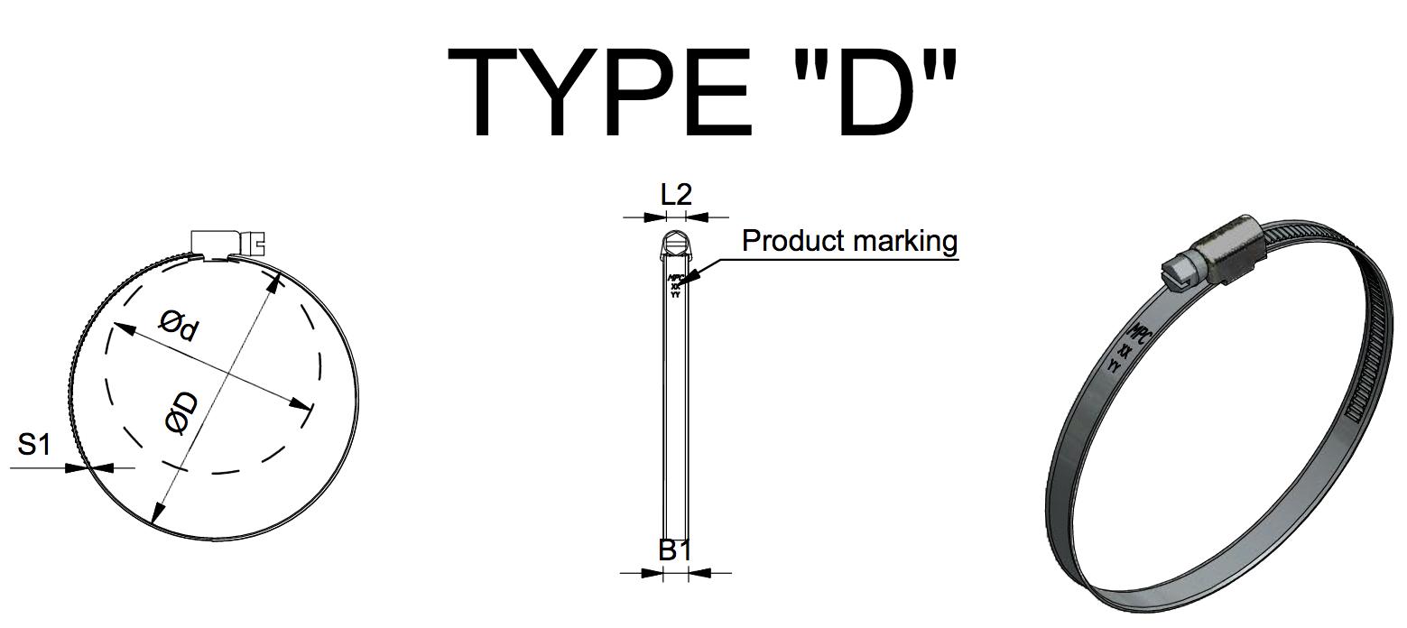 """Dessin technique coliier MPC type """"D"""""""